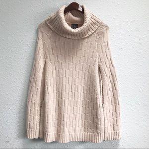 Market & Spruce Wool Knit Turtleneck Sweater Cape